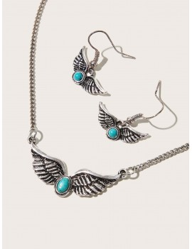 1pair Wing Earrings & 1pc Wing Necklace