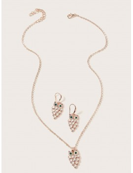 1pc Owl Charm Necklace & 1pair Earrings