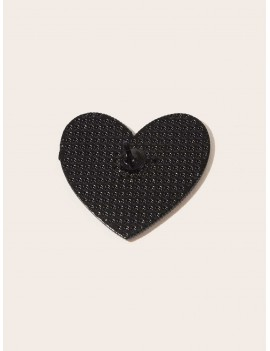 1pc Slogan Graphic Heart Design Brooch