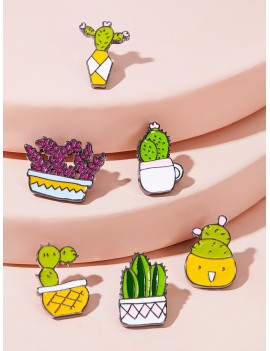 Cactus Design Brooch 6pcs
