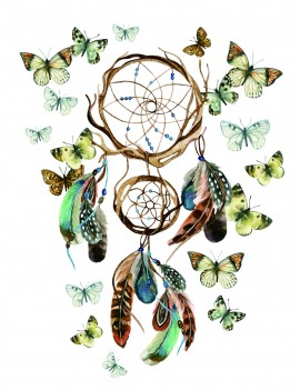 1sheet Butterfly & Dreamcatcher Pattern Tattoo Sticker
