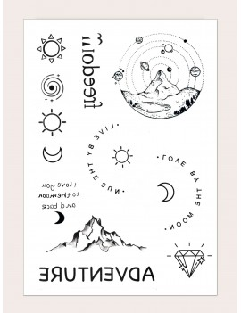 1sheet Sun & Moon Pattern Tattoo Sticker