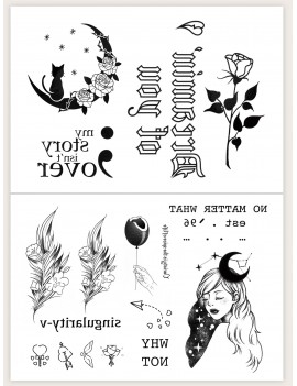 2sheets Girls & Rose Pattern Tattoo Sticker