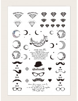1sheet Moon & Diamond Pattern Tattoo Sticker