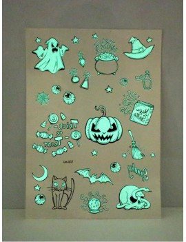 1sheet Halloween Element Luminous Tattoo Sticker
