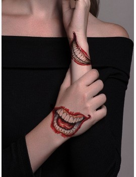 1sheet Halloween Mouth Pattern Tattoo Sticker
