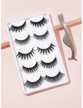 3D Natural Thick Fake Eyelashes 5pairs With Tweezers