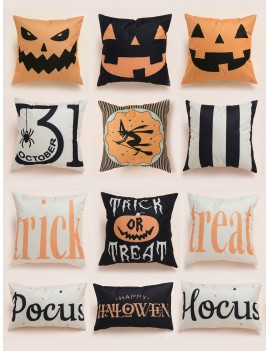 1pc Halloween Element Print Cushion Cover