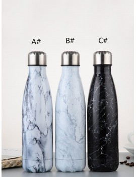 1pc Marble Pattern Stainless Steel Vacuum Cup