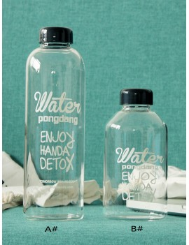 Slogan Print Water Bottle 1pc With Drawstring Bag