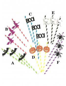 10pcs Halloween Decorative Striped Paper Straw