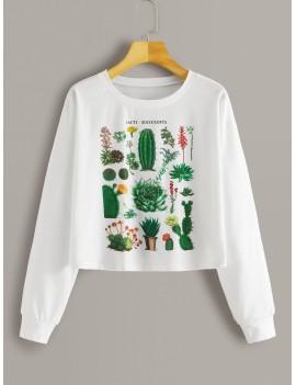 Cactus Print Long Sleeve Tee
