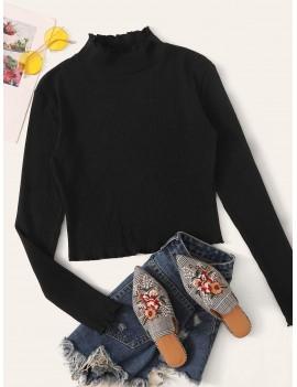 Mock Neck Rib-knit Crop Tee