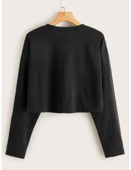 Notched Collar Letter Graphic Crop Tee