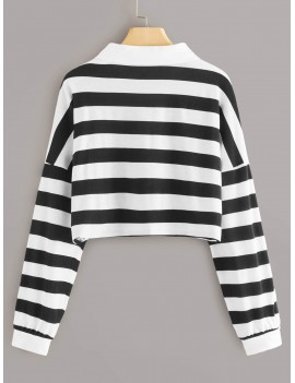 Black And White Striped Polo Neck Crop Tee