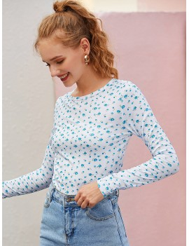 Allover Ditsy Floral Print Long Sleeve Tee