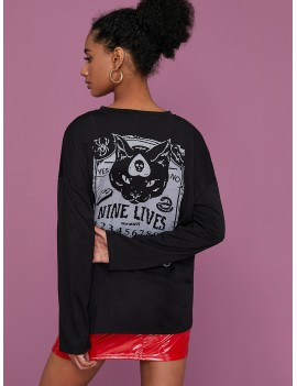 Halloween & Letter Graphic Back Tee