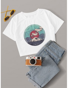 Graphic Print Crop Tee