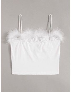 Butterfly Embroidery Contrast Faux Fur Cami Top