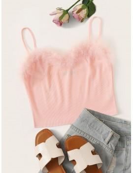 Faux Fur Detail Rib-knit Cami Top
