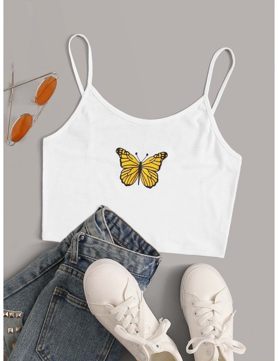 Butterfly Print Crop Cami Top