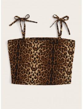Leopard Print Knot Strap Cami Top