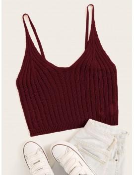 Solid Rib-knit Crop Cami Top