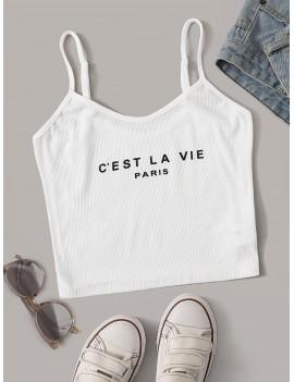 Slogan Print Rib-knit Cami Top