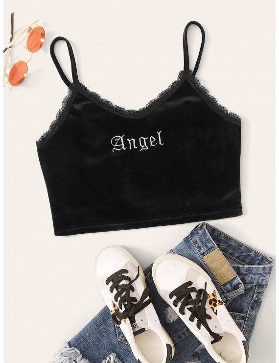 Contrast Lace Trim Letter Embroidery Velvet Cami Top