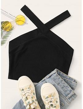 Solid Rib-knit Criss-cross Halter Top