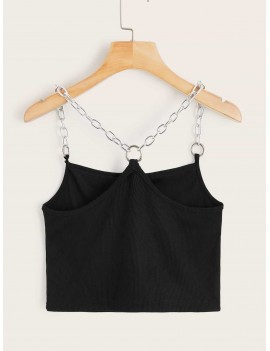 Solid Ribbed Chain Cami Top