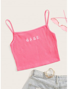 Letter Embroidery Rib-knit Cami Top