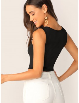 Square Neck Ribbed Crop Tank Top