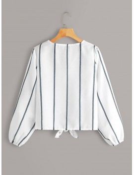 Striped Button Front Knot Blouse