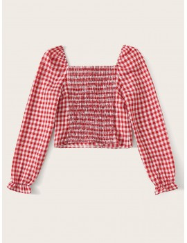 Gingham Square Neck Shirred Crop Blouse