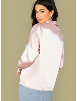 Drop Shoulder Satin Shirt