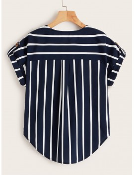 Vertical-Striped Curved Hem Blouse