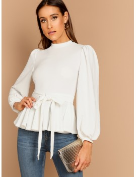 Bishop Sleeve Belted Peplum Top