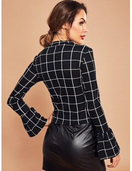 Bell Sleeve Grid Top