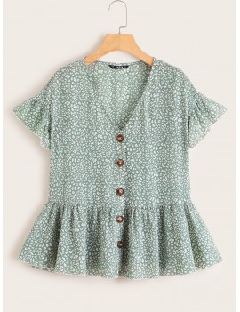 Allover Print Ruffle Trim Shirt