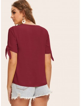 Knot Split Sleeve Solid Top