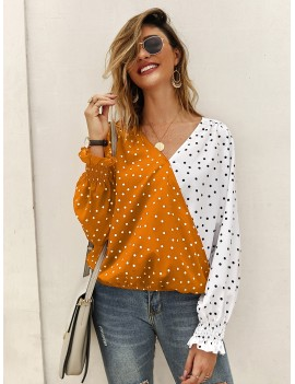 Chiffon Two Tone Polka Dot Blouse