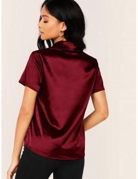 Notched Collar Satin Blouse