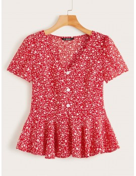Ditsy Floral Button Front Ruffle Hem Top