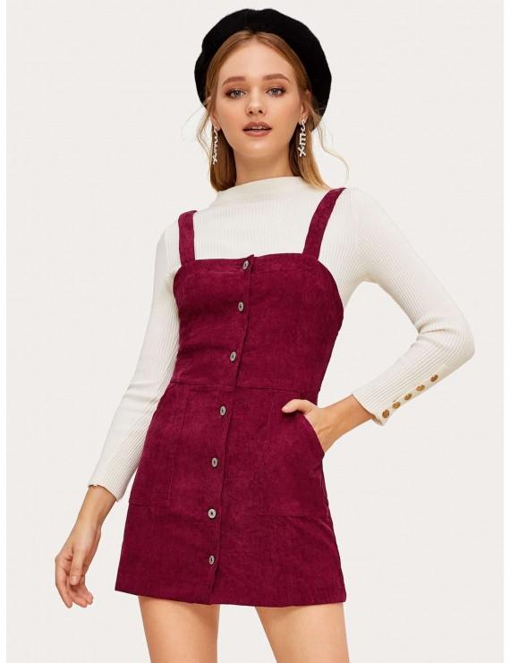 Button Front Corduroy Pinafore Dress