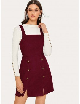 Double-breasted Slit Hem Corduroy Pinafore Dress