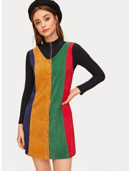 Cut And Sew Panel Corduroy Pinafore Dress