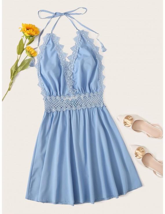 Contrast Lace Trim Knot Halter Dress