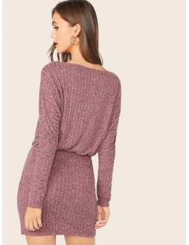 Dolman Sleeve Rib-knit Blouson Dress