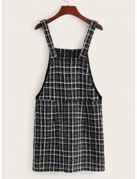 Buttoned Detail Tweed Pinafore Dress